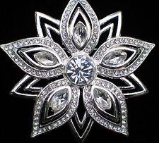 NIB DANA BUCHMAN SILVER CLEAR RHINESTONE POINSETTIA FLOWER SNOWFLAKE PIN BROOCH