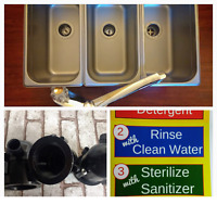 Standard 3 Compartment Sink Set For Portable Concession Sinks With Drain Traps