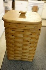 """Longaberger 1998 Square Basket 10"""" tall with Lid and Liner Good Shape!"""