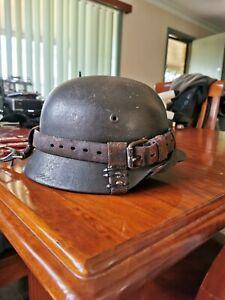 Original 1940 German Army Steel Helmet, With Leather Fittings For Tank Crew.