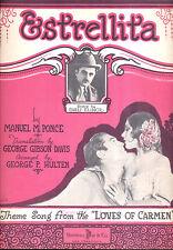 "LOVES OF CARMEN Sheet Music ""Estrelita"" Dolores Del Rio Don Alvarardo"
