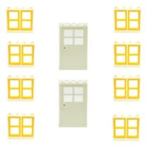 LEGO (10 Pack) 8 House Windows (1x4x3)  with Panes &  2 Doors  Town City NEW