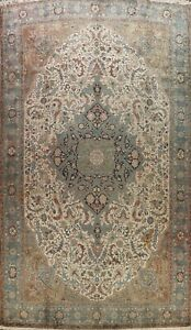 Vintage Vegetable Dye Geometric Heriz Area Rug Hand-knotted Wool Over Size 13x20