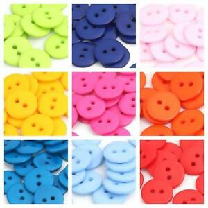 50 15mm ROUND RESIN BUTTONS - 12 COLOURS - XMAS - CRAFT - SEW - BUY 2 GET 1 FREE