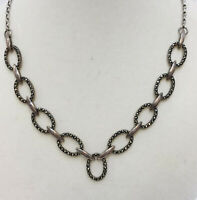 "Marcasite Necklace Sterling Silver Oval Circles Linked Chain 16"" Collar Shimmer"