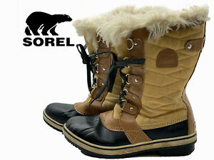 SOREL Tan/Black Insulated Waterproof Lace Up Snow Boots Women's Size 6