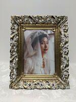 "Vntg Hollywood Regency Gold Filigree Frame Portrait Picture Photograph 5""x7"""