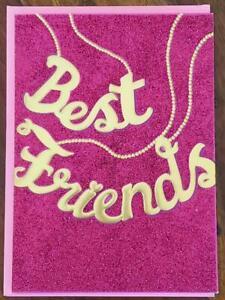 AVANTI PRESS GOLD & PINK EMBOSSED GLITTERY BEST FRIENDS GREETING CARD