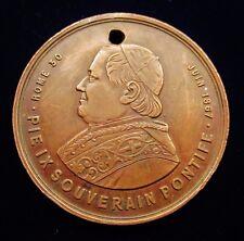 MEDAILLE PIE IX SOUVERAIN PONTIFE JUIN 1867 PELERINAGE DE PIBRAC trouée