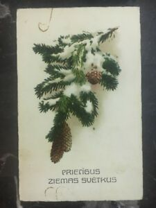 1932 Latvia Picture Postcard Christmas cover Domestic Used