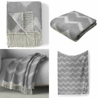 Grey Throw Blankets Zig Zag Wool Feel Super Soft Tassel Throws 130cm x 170cm