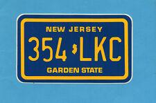 ADESIVO/STICKER-TARGHE USA- NEW JERSEY - cm.9x15 - vintage anni 80