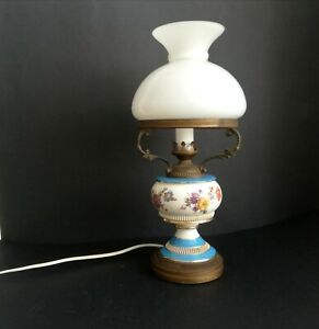 1950s porcelain and brass with white opal glass globe 50s vintage table lamp VTG