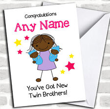 Black Big Sister New Baby Twin Boys Brothers Sibling Customised Card