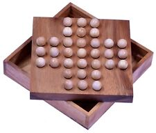 Solitär Solitaire Brettspiel Denkspiel Knobelspiel Geduldspiel Holz mit Kugeln