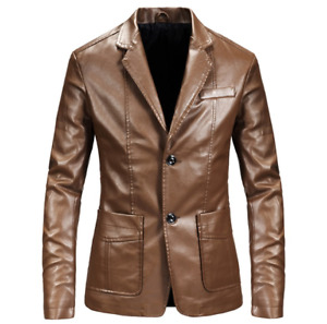 Men's Fashion Autumn Lapel Long Sleve Slim Suit Coats Youth Faux Leather Blazers