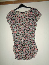 LADIES F & F GREY AND TERRICOTTA PRINT GYPSY STYLE TOP SIZE 8