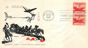 C37 5c DC-4, Spartan Cachet thermographed cachet in black and red [072921.337]