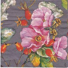 English Flower Paper Napkins Wild Rose Grey Ideal Home Range IHR