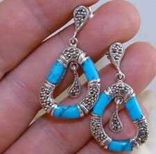 VINTAGE STYLE - Genuine Turquoise & Marcasite Stud Drop Earrings Silver 925!.