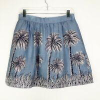 J.Crew Linen Palm Tree Tropical Blue Pocket Skirt Size 6