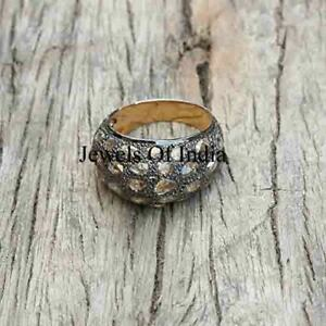 Natural Rose Cut Diamond & Polki 925 Sterling Silver victorian Ring Jewelry