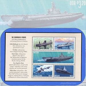 2000  U.S. NAVY SUBMARINES  Selvage # 2  The Submarine Stamps  Booklet Pane of 5
