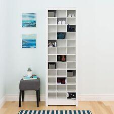 Shoe Storage Cabinet Laminate White Space Saving Room Closet Organizer Furniture