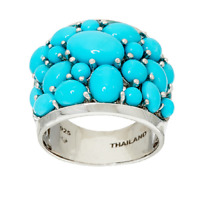 SLEEPING BEAUTY TURQUOISE STERLING SILVER BOLD CLUSTER RING SIZE 5 QVC $269