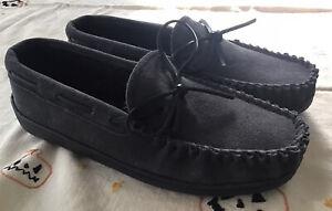 Minnetonka Mens Tory Traditional Leather Upper Slip on Slippers Gray  sz 9