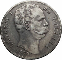 1879 ITALY with King Umberto I Genuine Antique Silver 5 Lire Italian Coin i74874