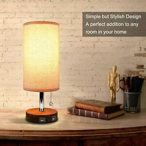 Dual USB Bedside Table Lamp With USB Charging Ports - Cylindrical - AOOSHINE