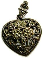 Paved Marcasite Heart Pendant Charm Necklace Patina Vintage Sterling Silver 925
