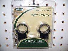 "Weaver 49044 1"" Extra High Scope Rings  Matte Black"
