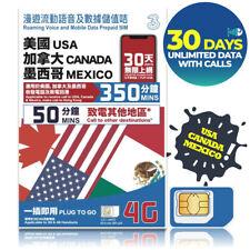 MEXICO CANADA 30 Days 4G UNLIMITED DATA 350 min AT&T Roger 3 Prepaid SIM HOTSPOT