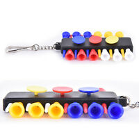 Golf Tee Holder Carrier With 12 Plastic Tees With 3 Ball Markers + Keychain NT