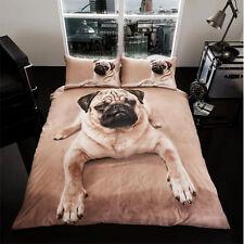Doppelbett Größe 3D Mops Hund Bettwäschegarnitur mit 2 Kissenbezüge