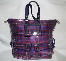 COACH XL Tartan POPPY SEQUIN SPOTLIGHT Tote Handbag Purse Purple/Berry/SV -15890