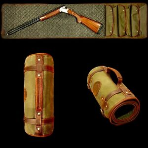 """Shotgun Rifle Cleaning Mat    USA   Waxed Canvas Leather And Wool 67""""*16 Inches"""