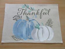 Fall Thanksgiving Blue Pumpkin Fabric Placemats Decor Set of 4