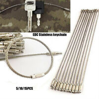 New EDC Stainless Steel Wire Keychain Cable Key Ring Chain Outdoor Holder Tools