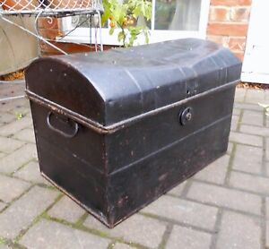 Vintage distressed METAL DEED BOX~cabin trunk~CHEST~coffee table~WITH HANDLES