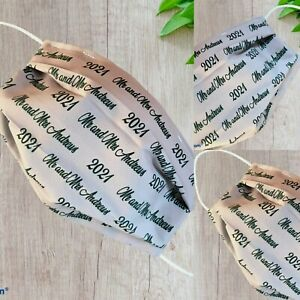 PERSONALISED WEDDING Face Mask WEDDING GUEST Double Layer, Handmade POSTED 24HRS