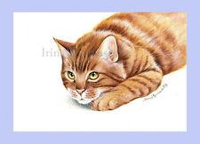 Ginger Cat Print Waiting by Irina Garmashova