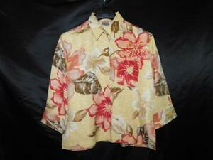 Chico's Size 1 M Brown Yellow Red Floral Shirt Silk Linen Long Sleeve Blouse Top