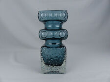 Riihimaki Lasi Blue Kehra Vase Tamara Aladin Mid Century Modern Glass Finland