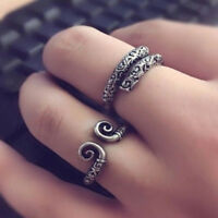 Vintage Tibetan Silver Open Adjustable Finger Ring Knuckle Rings Jewelry Gift3C