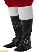 Adults Deluxe Santa Claus Boot Covers Mens Father Christmas Fancy Dress Xmas