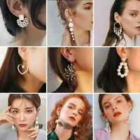 Fashion Women Geometric Round Pearl Stud Earrings Statement Dangle Jewelry Gift