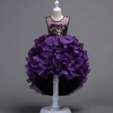 Flower Girl Princess Dress Kids Baby Birthday Party Wedding Pageant Tutu Dresses Type 3 Purple 3-4y